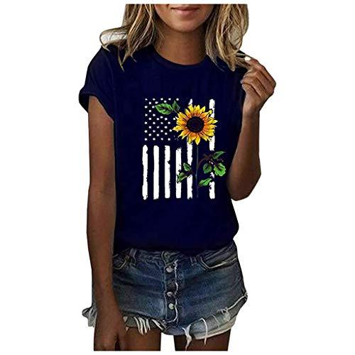 Blingko Damen Tunika Tops Sonnenblumen Druck Kurzarm Shirts Sommer Locker Casual Rundhals Bluse Kurzarm Rollhülse Mode Bequemes T-Shirt(Blau,XL)