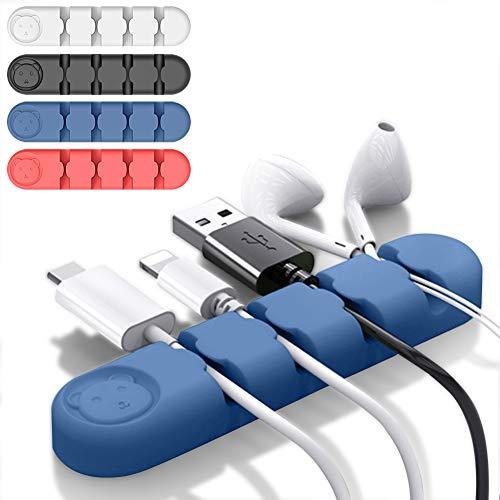Seafirst ケーブルクリップ 配線アクセサリー 4本セット 充電ケーブル用クリップ 4穴 優れるシリコン コンピュータデスクにケーブルホルダー USBデータケーブル用コードクランプ テープ型コードクランプ ブラック+ホワイト+ダークブルー+赤