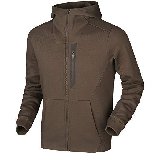 Harkila jack met capuchon voor heren in bruin en groen - trui voor de jacht - jachtjas met lange mouwen met capuchon vissen wandelen