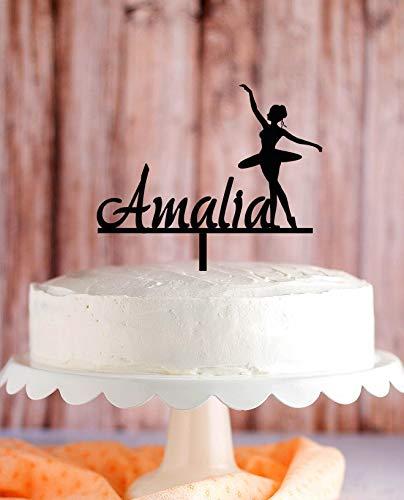 Ballerina taart topper, Ballerina danser verjaardag taart topper, Ballerina partij, gepersonaliseerde naam taart topper