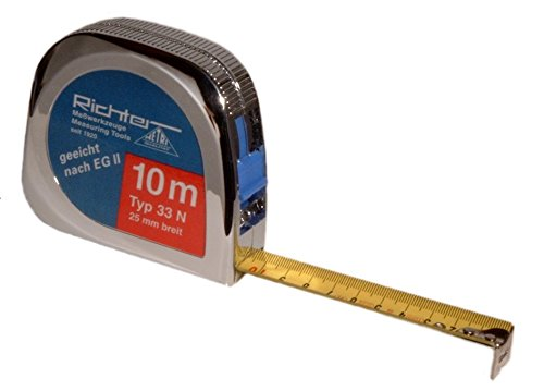 Richter Taschenrollbandmaß - Taschenbandmaß - Bandmaß 25mm breit Längen:Tachen-Rollbandmaß 33N-10m - Länge 10m