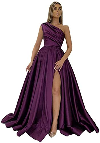 Women Long Satin Plus Size Prom Dresses with Slit 2021 One Shoulder A Line Plum Formal Evening Dress