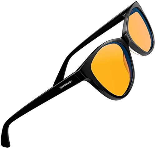 Swanwick: Cat Eye Night Swannies - Black - Premium Blue Light Blocking Glasses - Regular - Orange Tint for Superior Blue Light Blocking from Gaming PC and Smartphone Screen Glare - Sleep Support