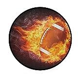 Round Area Rug Burning Football Enveloped Fire Flame Art Deco Non-Slip Backing Playing Floor Mat for Living Room Bedroom, 3 Feet Diameter