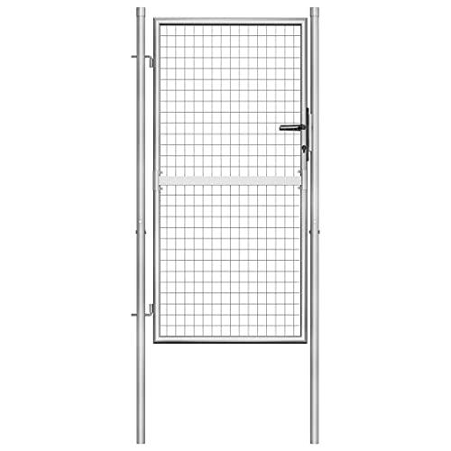 vidaXL Puerta de jardín de acero galvanizado plateado 105x200 cm