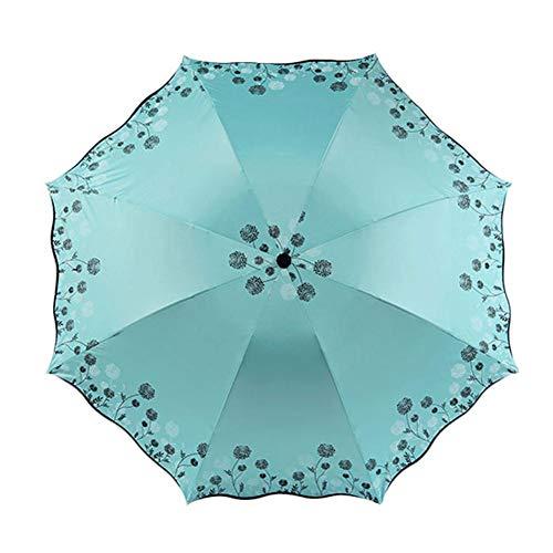BIGBOBA Regenschirm Fresh Automatik Schirm Faltbarer Ersatzschirm mit Holzgriff Sonnenschirm, Mini, Winddicht, Wasserdicht, UV, Auto, Reise, Grün