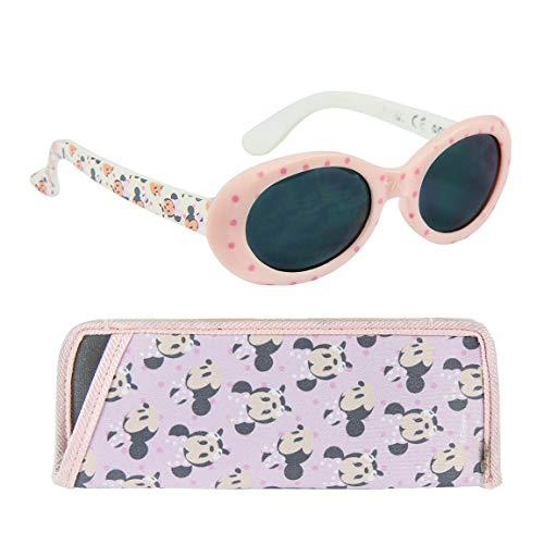 Gafas de sol flexibles con funda para bebé niña Disney Minnie rosa y blanco TU (12-36 meses)