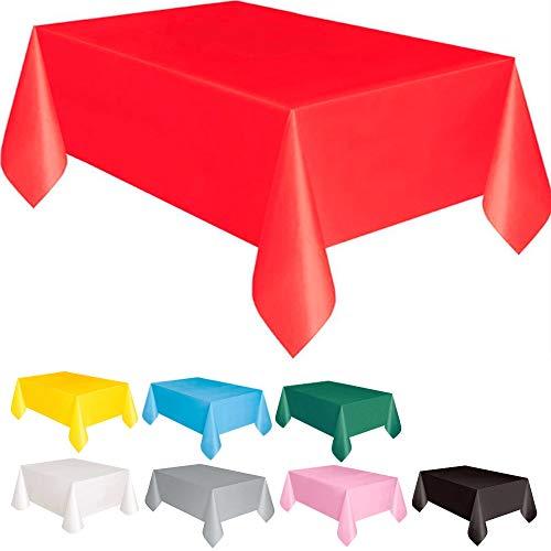 DIWULI, große Tischdecke rot, Tafeldecke 183 x 137 cm rechteckig, Tafeltuch, einweg Tischwäsche, Kunststoff-Tischdecke abwaschbar Kinder-Geburtstag, Mädchen Junge, Motto-Party, Dekoration, Deko