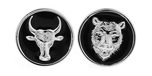 Percival Style Bull and Bear Manschettenknöpfe für Umschlagmanschettenhemden Herren