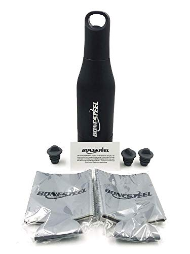 Beer Bottle Insulator Stainless Steel Gift Set With Neoprene Can Coolers and Silicon Cap Stoppers For Beer, Soda, and Ciders.