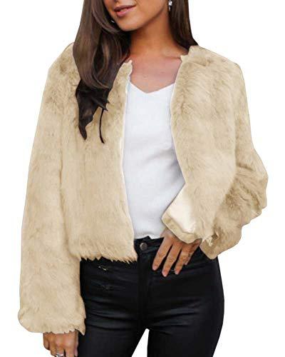 GAMISOTE Womens Faux Fur Jacket Open Front Shaggy Long Sleeve Fashion Warm Outwear Coat Beige