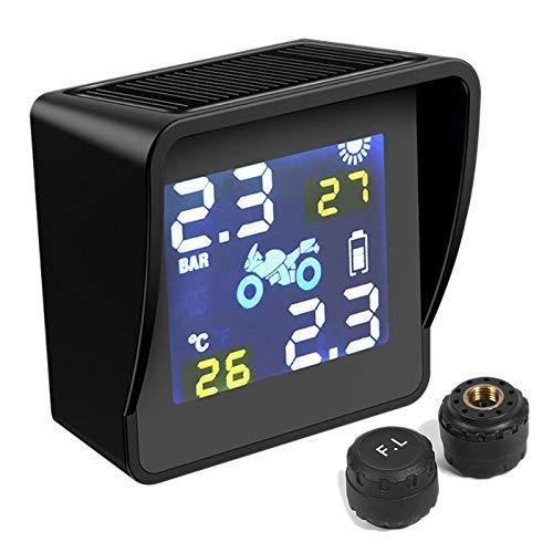 Monland Sistema di Allarme di Monitoraggio della Temperatura dei Pneumatici TPMS per Moto Ricarica Solare USB con 2 Sensori Esterni