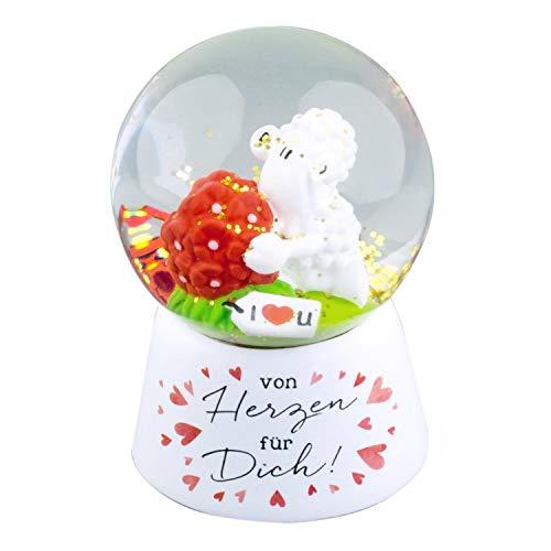 Die Geschenkewelt 46187 Sheepworld Traumkugel mit Spruch Von Herzen für Dich, 6,5 cm Schneekugel, Mehrfarbig, Höhe