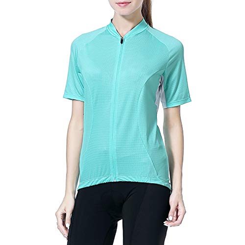 Cycling Jersey Women's Short Sleeve Bike Biking Shirts Full Zip Bicycle Tops Cycling Clothes with 3 Pockets(Green,M)