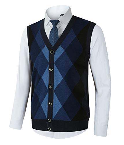 Homovater Mens Casual V-Neck Sweater Vest Knitwear Argyle Sleeveless Knitted Cardigan Sweaters Button Down Navy