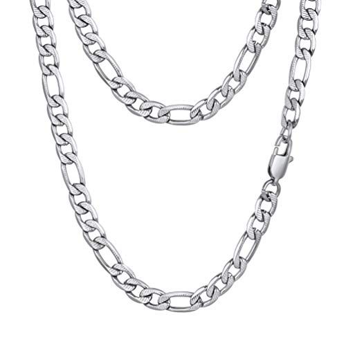 PROSTEEL Stainless Steel Figaro Link Chain Necklace 30inch Cool Chains 6mm Women Men Jewelry Long Necklaces