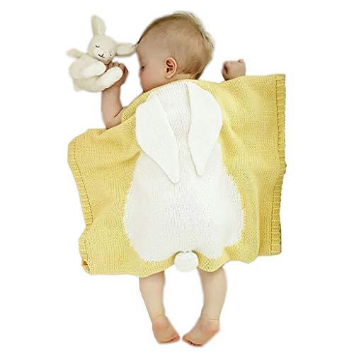 JUEJIDP Mantas de Recepción Unisex para Bebés, Mantas Acogedoras de Animales Eencantadores para Bebés Recién Nacidos y Niños Pequeños, Manta de Bebé Súper Suave y Cálida para Cochecito,Amarillo