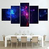 PGODAY Lienzo de Pintura para Pared con diseño de Cielo Estrellado, 5 Piezas de Nebula Abstracto Paisaje imágenes niños decoración de habitación, Frameless, size1:20x35cmx2;20x45cmx2;20x55cmx1