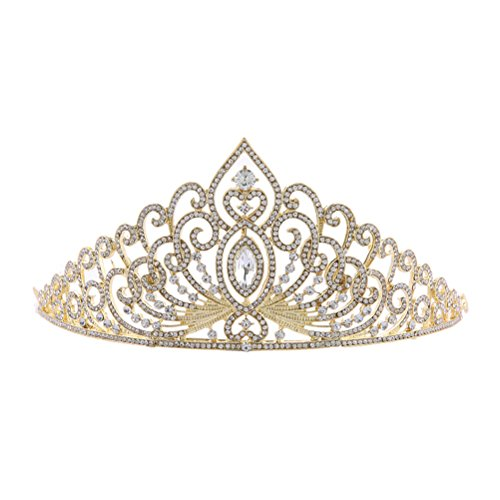 Frcolor Crystal Strass Diadem Schmuck Strass Heaband für Königin, Braut, Prinzessin Hochzeit, Party und Geburtstag (Gold)