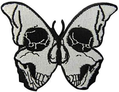 Butterfly Skull Patch 3D Embroidered for Small Max 59% OFF Indianapolis Mall Jacke Halfskull