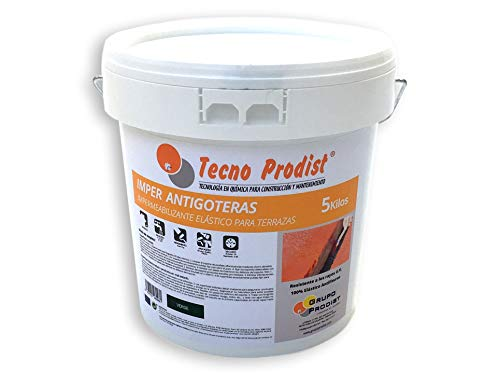 IMPER ANTIGOCCE DI TECNO PRODIST - 5 kg (VERDE CHIARO) Vernice impermeabilizzante elastica per terrazze (rullo o pennello, disponibile in rosso, bianco, verde e grigio)