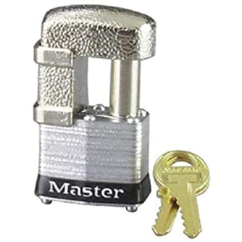 Master Lock 37D Shrouded Laminated Steel Pin Tumbler Padlock Keyed Different 1-9/16-Inch Wide Body Shackle Fits 9/32-Inch Or 1/2-Inch Diameter