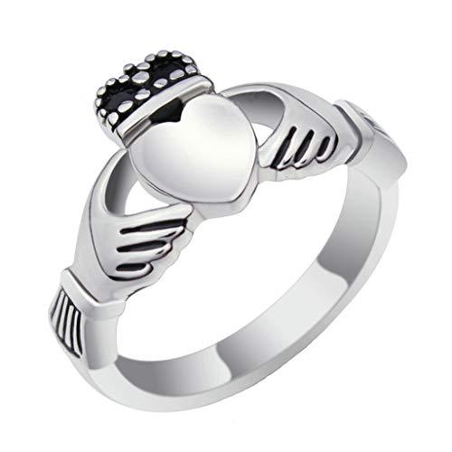 NA Jewellry Anillos de Acero Inoxidable Anillos de Boda Hombres Mujeres Anillo Claddagh Irlanda Corona del corazón