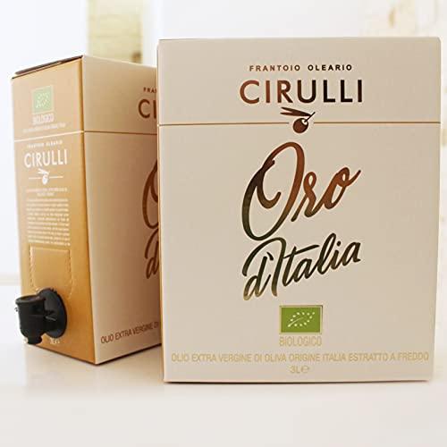Frantoio Oleario Cirulli Olio Biologico Extravergine di Oliva Estratto a Freddo, Bio - Bag in Box 3 Litri - 100% Italiano - Cultivar Coratina