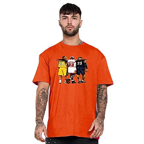 JX-PEP Camiseta de Manga Corta para Hombre de Verano para Hombres de Verano, Camiseta de Baloncesto Media Manga,Naranja,XS