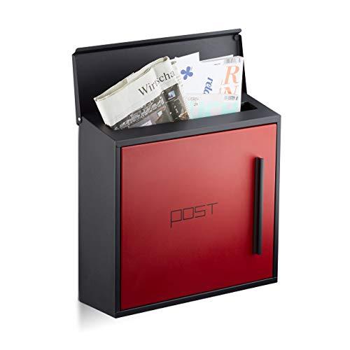 Relaxdays Briefkasten rot modern Zweifarben Design, DIN-A4 Einwurf, Stahl, groß, HxBxT: 33 x 35 x 12,5 cm, schwarz-rot