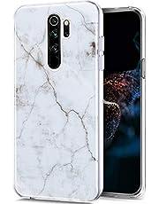ikasus voor Xiaomi Redmi Note 8 Pro hoes, marmer patroon telefoonhoes zachte siliconen hoes TPU bescherming mobiele telefoon hoes case tas crystal case doorzichtig beschermhoes voor Xiaomi Redmi Note 8 Pro, wit