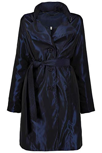 Ulla Popken Femme Grandes Tailles Veste Outdoor, Deux Tons, Zip, Capuche Bleu Marine 56/58 721703 70-54+