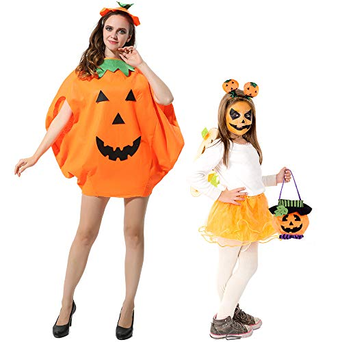 FEPITO 4 Piezas Unisex Adulto Disfraz de Calabaza de Halloween Disfraces Divertidos de Halloween Naranja Calabaza Cosplay Ropa de Fiesta