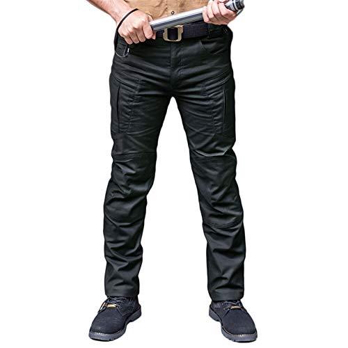 Impermeable transpirable sobre pantalones juego de guerra táctico Pantalones de carga para hombre pantalones casuales del ejército Pantalones militares de lycra tela ( Color : Negro , Talla : Large )
