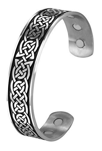 TEAMER Magnetfeldtherapie Armband Gesundheitswesen Nordische Irish Celtic Knot Viking Armreif Edelstahl Antik Silber Schwarz Schmerzlinderung Stulpearmband Männer