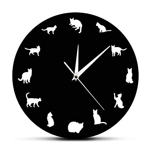 Horloges murales 12 Pouces 12 Chat différent Pose Moderne Kitty Pet Shop Art Chaton Animal...