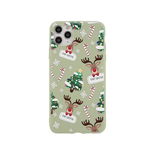 Cuty-girl - Cover posteriore in silicone morbido per iPhone 11 Pro Max X XR XS Max 5S 6S 7 8 7Plus SE 2020, colore: Verde chiaro