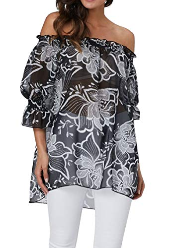 Camicia Chiffon Donna Elegante Blusa Monospalla Maniche 3/4 Boho Chic Maglia Stampa Floreale T Shirt Hawaiana Tunica Elegante Taglie Forti Kimono da Mare Copricostumi e Parei Estivi Bikini Cover Up
