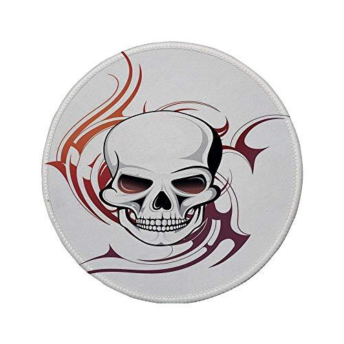 Rutschfreies Gummi-rundes Mauspad Tattoo-Dekor gruseliger wilder und wilder Schädel mit roten Flammen Tribal Artistic Tattoo Image Rot und Weiß 7.9