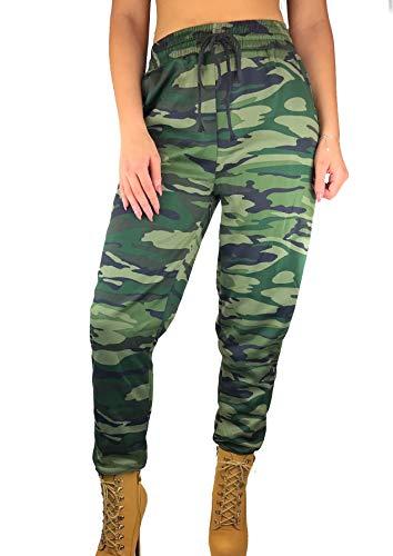 Worldclassca Damen Camouflage Jogginghose Trainingshose Schlafanzug-Hose TARN MILITÄR Pants Gym Sporthose Blogger Jogging Sport Fitness Sweatpants S-XXL NEU (M/L (36-40), Camouflage 1)