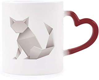 Origami Geometric Abstract Cat Pattern Morphing Mug Heat Sensitive Red Heart Cup