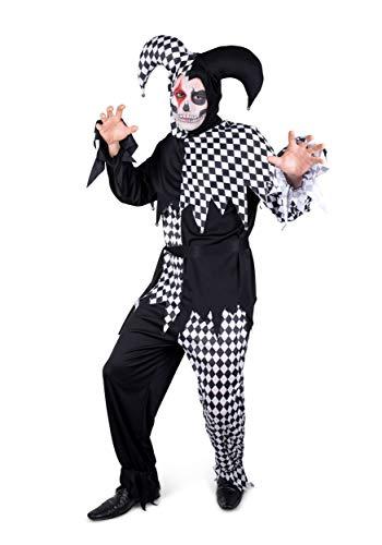 Heren Evil Jester Kostuum Middeleeuwse Scary Clown Joker Halloween Fancy Jurk Outfit
