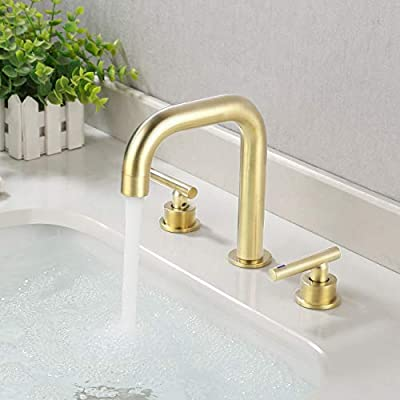 KES Widespread Bathroom Faucet 8 Inches Brushed Brass Bathroom Sink Faucet 3 Hole cUPC Certified Brass with Supply Hoses, L4317LF-BZ