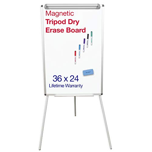 "Tripod Whiteboard Stand - Dry Erase White Board Easel with Magnetic Markers & Eraser - 24X36"" - Adjustable Height & Aluminum Frame - Perfect Lightweight Board"