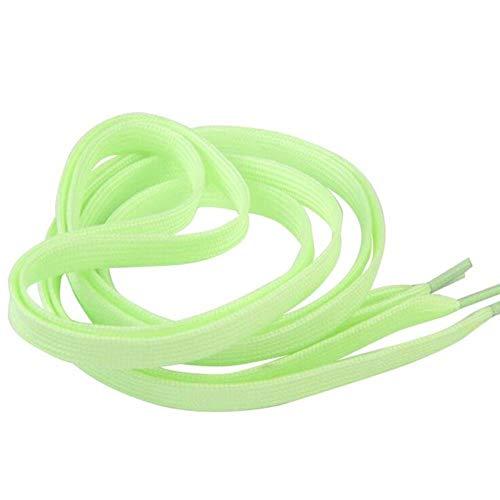 WTMLK 100/120/140 cm, cordones planos, que brillan en la oscuridad, zapatos deportivos fluorescentes para fiestas, acampadas, verde, 80