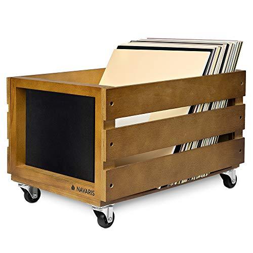 Navaris Cassetta Dischi Vinile in Legno - Cassa Porta Vinili 50-80 Dischi LP - Record Box 43.2x30.6x28 cm con Ruote - Cassettina con Lavagna - Marrone