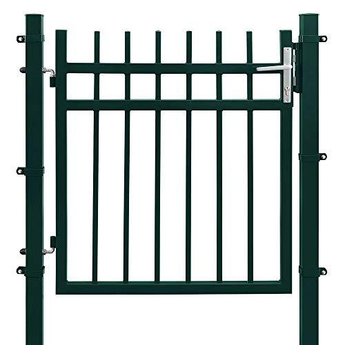 SONGMICS Cancello da Giardino in Ferro Zincato, Cancelletto da Giardino, Cancello per Recinzione, Robusto e Durevole, con Serratura di Qualità, Maniglia e Chiave, 106 x 100 cm (L x A), Verde GGD350G01