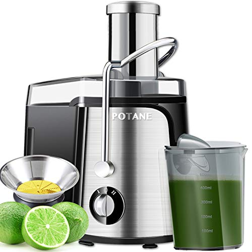POTANE Juicer Machine, Titanium Enhanced Filter, EMGEL 8830 Motor, Easy Clean Centrifugal Juicing Machine, Large Feed Chute, Anti-drip, High Quality (Stainless Steel)