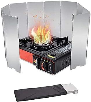 SunAurora 10 Plaques Pare-Brise de Camping, Pare-Vent Pliable en Alliage d'aluminium, Camp Réchauds Pare-Brise Outdoor avec Loquet, Portable Pare-Vent Cuisine pour Barbecue Pique-Nique