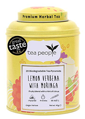 Tea People Lemon Verbena with Moringa, 20 Tea Pyramids in a Tin Caddy